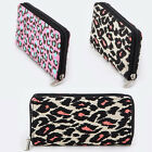 Women Zipper Around Long Wallet Clutch Card Coin Holder CANVAS Pink Leopard
