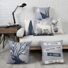 "New Nordic Deer Animal Geometric Letters Linen Pillow Case Cushion Cover 18""x18"""