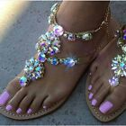 2017 Womens RHINESTONES Strap Flip Flop Strap Flat Beach Sandals Shoes US4-14