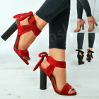 New Womens Ankle Tie Peep Toe Sandals Ladies High Block Heels Strappy Shoes Size
