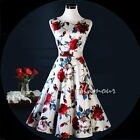 50s Hepburn Style Bridesmaids Party Prom Vintage Swing Floral Print Dress