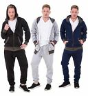 New Mens Tracksuit Branded Fleece Hooded Zipper Cotton Jogging Bottoms S to XXL