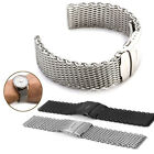Womens Mens Stainless Steel Watch Band Strap Push Button Clasp Buckle Bracelet image