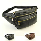Men Genuine Leather Large Wait Pack Belt Fanny Bag Travel Casual Messenger Pouch