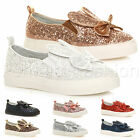 GIRLS CHILDRENS KIDS FLAT SLIP ON GLITTER BOW BUNNY EARS PARTY TRAINERS SHOES