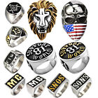 Stainless Steel Support 81 World Lions Mens Jewerly Rings Lot Motorcycle Biker