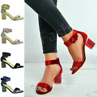 New Womens Ladies Ankle Strap Perspex Block Heel Sandals Velvet Shoes Size Uk