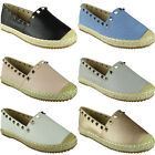 New Womens Ladies Slip On Studded Espadrilles Shoes Sandals Loafers Flats Size