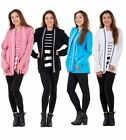 New Ladies Women Twin Set Striped Long Sleeve Crew Neck Knitted Cardigan Jumpers