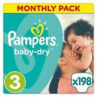 Pampers Baby Dry Nappies Diapers Size 3 4 4+ 5 5+ 6 6+ Monthly Saving Pack NEW
