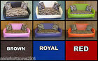 ZIPPY SOFA DOG BED FAUX LEATHER & CAT PRINT - 5 SIZES 10 COLOURS - WASH & WIPE