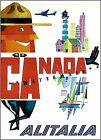 Canada 1950 Alitalia Vintage Poster Airline Travel Print Canadian Mountie