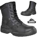 MENS NEW GROUNDWORK SAFETY STEEL TOE CAP CADET ARMY TRAINING POLICE HIGH BOOT