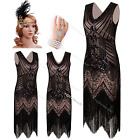 1920s Flapper Dress Vintage Gatsby Sequin Fringe Party Outfit Costume 8 10 12 14