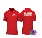 YOUR BUSINESS & TEL NUMBER WORK TRADE POLO SHIRT SIZES S-3XL PRINTED FRONT/REAR