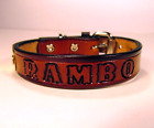 Personalized Cat Collar Western Leather 3/4 inch wide