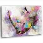 Rhino Watercolour Canvas Print Framed Animal Wall Art Picture