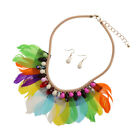 Boho Feder Quaste Statement Halskette Ohrringe Sets Modeschmuck Set