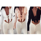 Women Lace Up Front Satin Plunge V-Neck Bell Long Sleeve Blouse Crop Tops