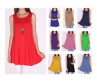 Women Long Tunic Dress Tank Top Sleeveless Scoop Neck Solid Shirt SML/1X 2XL 3XL