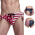 Men's American Flag Patriotic USA Swimwear Thong Bikini Bottom Sexy Swim Trunks