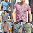 Mens New Casual Muscle Dress Shirt Mens Fashion Plaid Short Sleeve Work T Shirts