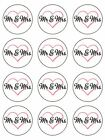 Mr and Mrs Wedding love heart couple edible cupcake Toppers Wafer Icing x 12