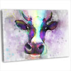 Cow Face Abstract Watercolour Canvas Print Framed Animal Wall Art Picture
