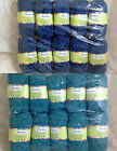 Lovely Chenille Yarn Bag of 10 Blue or Teal Color Choice DK Acrylic Huge Lot