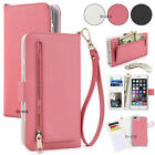 For Apple iPhone 6 7 8 Plus Leather Flip Cover Credit Card Wristlet Wallet Case