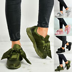 New Womens Ladies Bow Sneakers Trainers Slip On Casual Comfy Shoes Size Uk 3-8