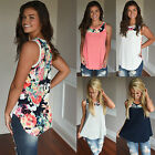 UK New Womens Sleeveless Floral Vest T-Shirt Ladies Summer Tank Tops Blouse...