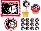 James Bond 007 Cupcake Pick Sticker Edible Cake Cookie Topper Birthday Party $9.95 CAD
