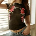 Women Floral Short Sleeve Cotton Casual Blouse Shirt Tops Fashion Summer T-shirt