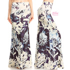 Floral Navy Sublimation high waist fold over maxi long skirt S/M/L/XL/1XL/2XL/3X