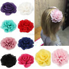 3 Inch Infant Kids Baby Girls Rose Flower Chiffon Flower Hair Clips Hairbow