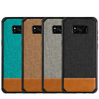 for SAMSUNG GALAYX S8+ PLUS - Canvas Fabric Leather Hard Rubber Gummy Case Cover