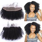 "Peruvian Afro Kinky Curly Virgin Hair Pre Plucked 13""x4"" Lace Frontal Closure"