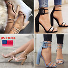 Kyпить Women High Heel Strap Ankle Block Sandals Open Toe Party Dress Sandal Pumps Shoe на еВаy.соm