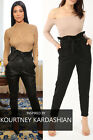 Ladies Fashion Paper Bag Belted High Waist Celebrity Ruched Cigarette Trousers