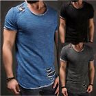 Ripped Men's Short Sleeve T-Shirt Casual Slim Fit Muscle Top Tee Shirt