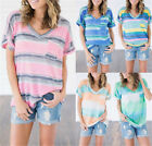 Plus Size Womens V Neck Striped Short Sleeve Ladies Casual Tops T-Shirt Blouse