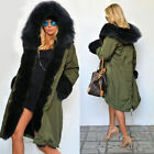 Ladies Fur Lining Coat Womens Winter Warm Thick Long Jacket Outdoor Hooded New