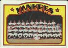 1972 Topps NEW YORK YANKEES Lot (19 Cards) includes THURMAN MUNSON