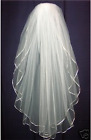 Cheap Two Layers White Beige Bridal Veil Short Tulle With Combo Wedding Veil