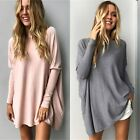 UK Womens Loose Sweater Baggy Jumper Dress Ladies Outwear Pullover Tops Blouse