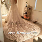 Ivory/White Long Wedding Veils Cathedral 1T Appliques Lace Edge Bridal Veil Comb