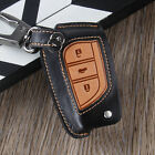 Genuine Leather Key Cover Case For Toyota Camry Corolla Rav4 3 Button Flip Key