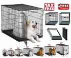 Single Door Folding Metal Dog Cat Crate with Divider Plastic Pan Carrying Travel