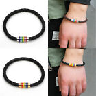 Gay Magnetic Clasp Pride Stainless Steel Bangle Lesbian Bracelet Rainbow